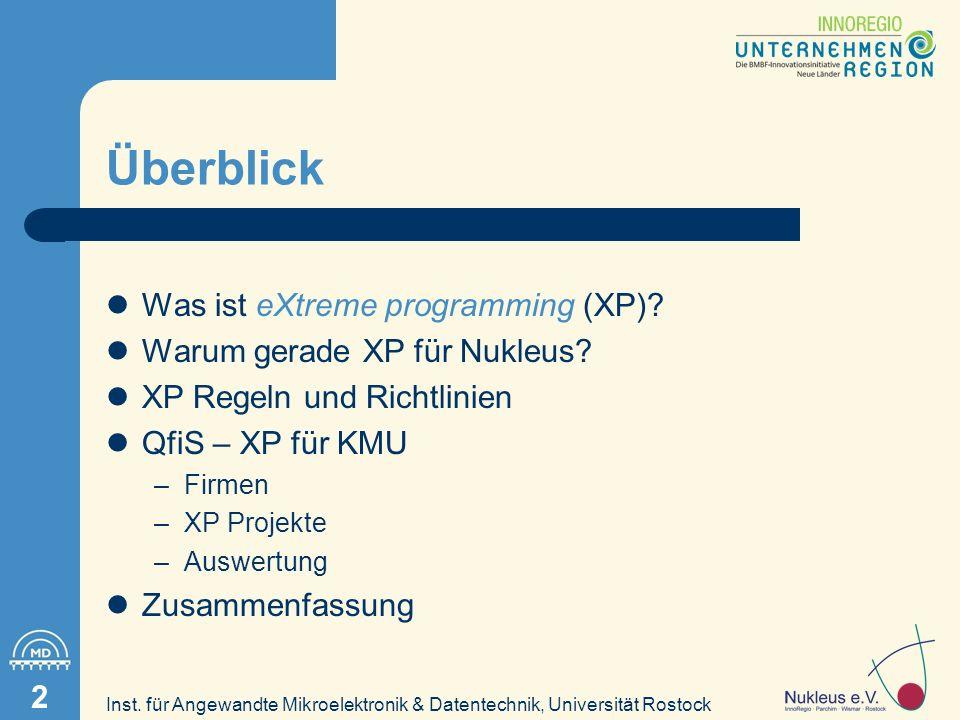 Inst.für Angewandte Mikroelektronik & Datentechnik, Universität Rostock 13 Fragen.