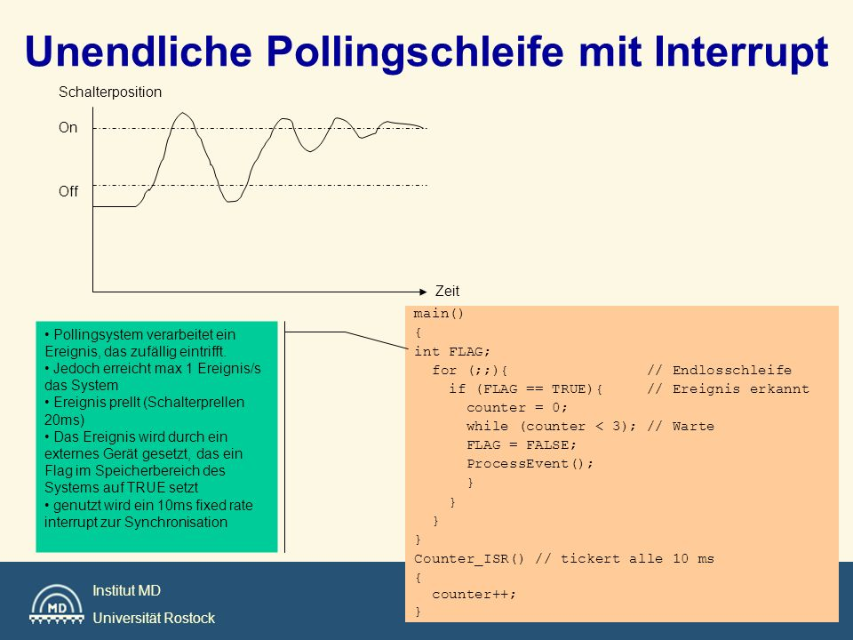 Institut MD Universität Rostock Unendliche Pollingschleife mit Interrupt main() { int FLAG; for (;;){ // Endlosschleife if (FLAG == TRUE){ // Ereignis