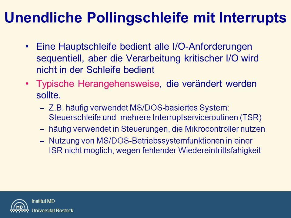 Institut MD Universität Rostock Unendliche Pollingschleife mit Interrupts Eine Hauptschleife bedient alle I/O-Anforderungen sequentiell, aber die Vera