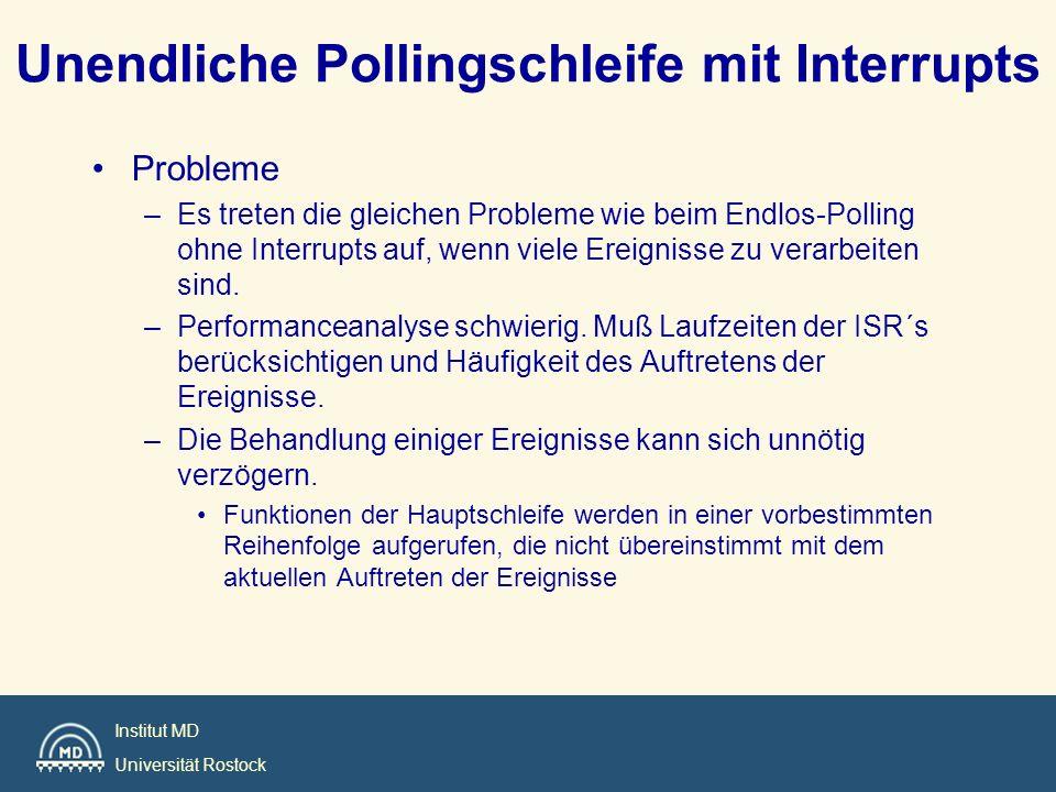 Institut MD Universität Rostock Unendliche Pollingschleife mit Interrupts Probleme –Es treten die gleichen Probleme wie beim Endlos-Polling ohne Inter