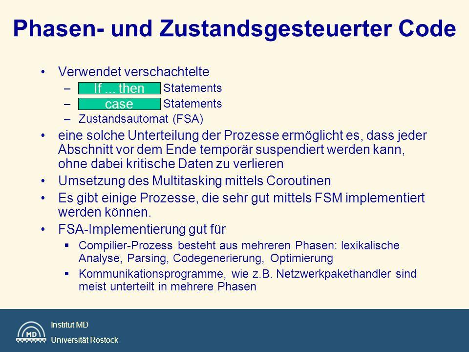 Institut MD Universität Rostock Phasen- und Zustandsgesteuerter Code Verwendet verschachtelte – Statements –Zustandsautomat (FSA) eine solche Untertei
