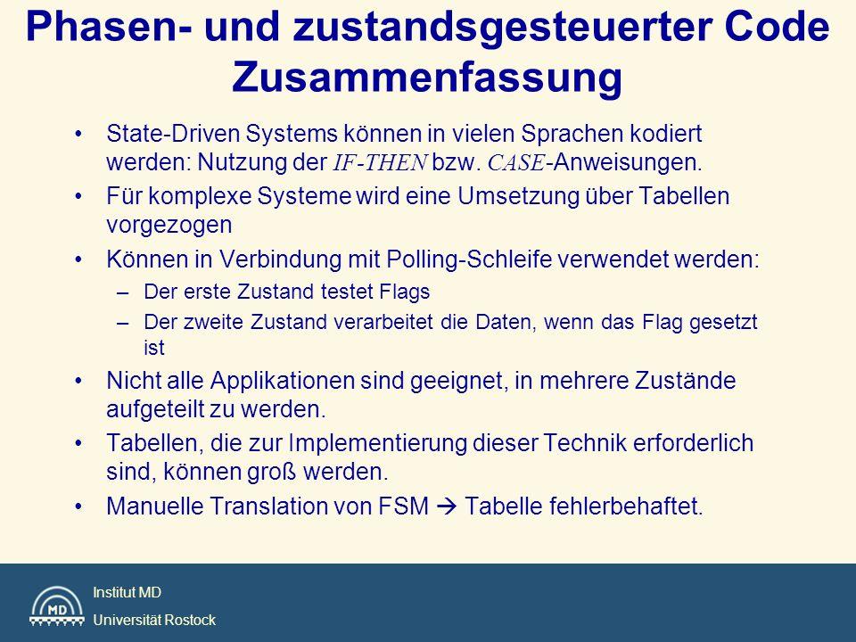 Institut MD Universität Rostock Phasen- und zustandsgesteuerter Code Zusammenfassung State-Driven Systems können in vielen Sprachen kodiert werden: Nu
