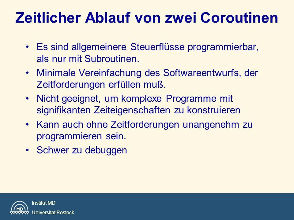 Institut MD Universität Rostock Zeitlicher Ablauf von zwei Coroutinen Es sind allgemeinere Steuerflüsse programmierbar, als nur mit Subroutinen. Minim