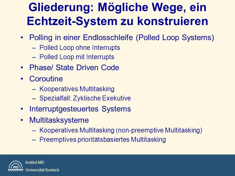 Institut MD Universität Rostock Gliederung Polling in einer Endlosschleife (Polled Loop Systems) Phase/ State Driven Code Coroutine Interrupt Driven Systems Foreground / Background Systems RTOS