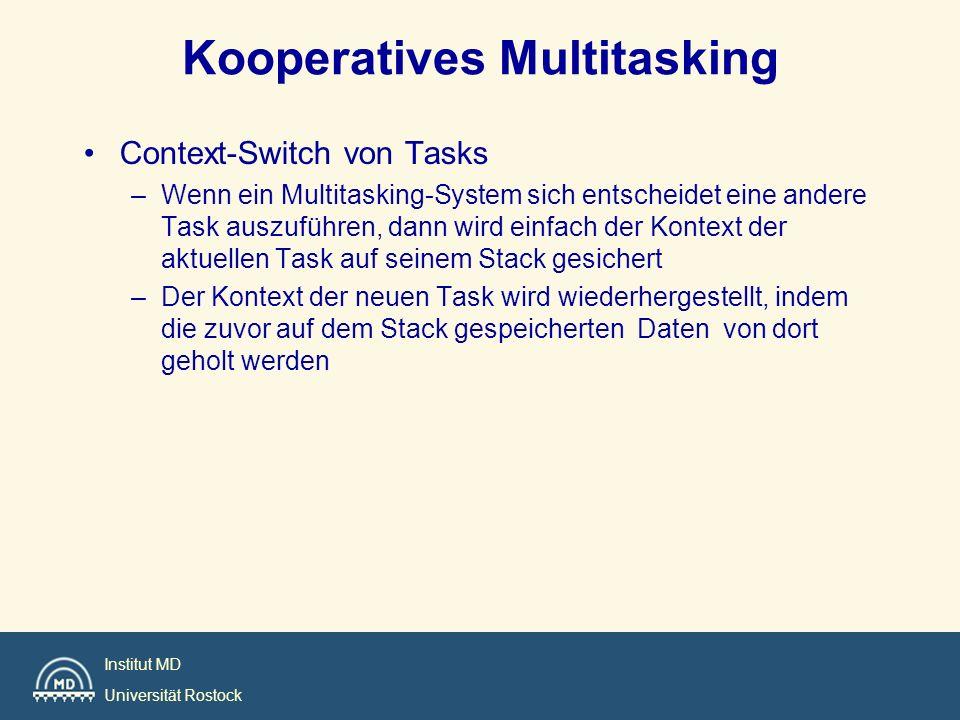 Institut MD Universität Rostock Kooperatives Multitasking Context-Switch von Tasks –Wenn ein Multitasking-System sich entscheidet eine andere Task aus