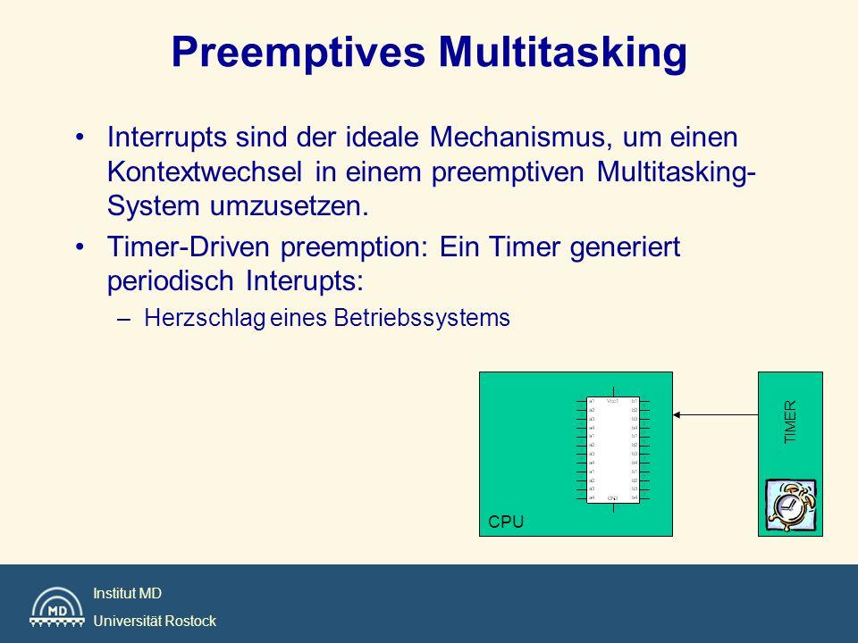 Institut MD Universität Rostock Interrupts sind der ideale Mechanismus, um einen Kontextwechsel in einem preemptiven Multitasking- System umzusetzen.