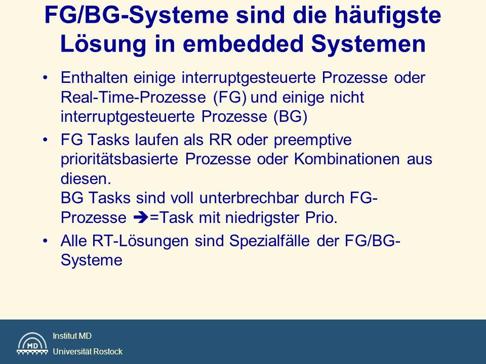 Institut MD Universität Rostock FG/BG-Systeme sind die häufigste Lösung in embedded Systemen Enthalten einige interruptgesteuerte Prozesse oder Real-T