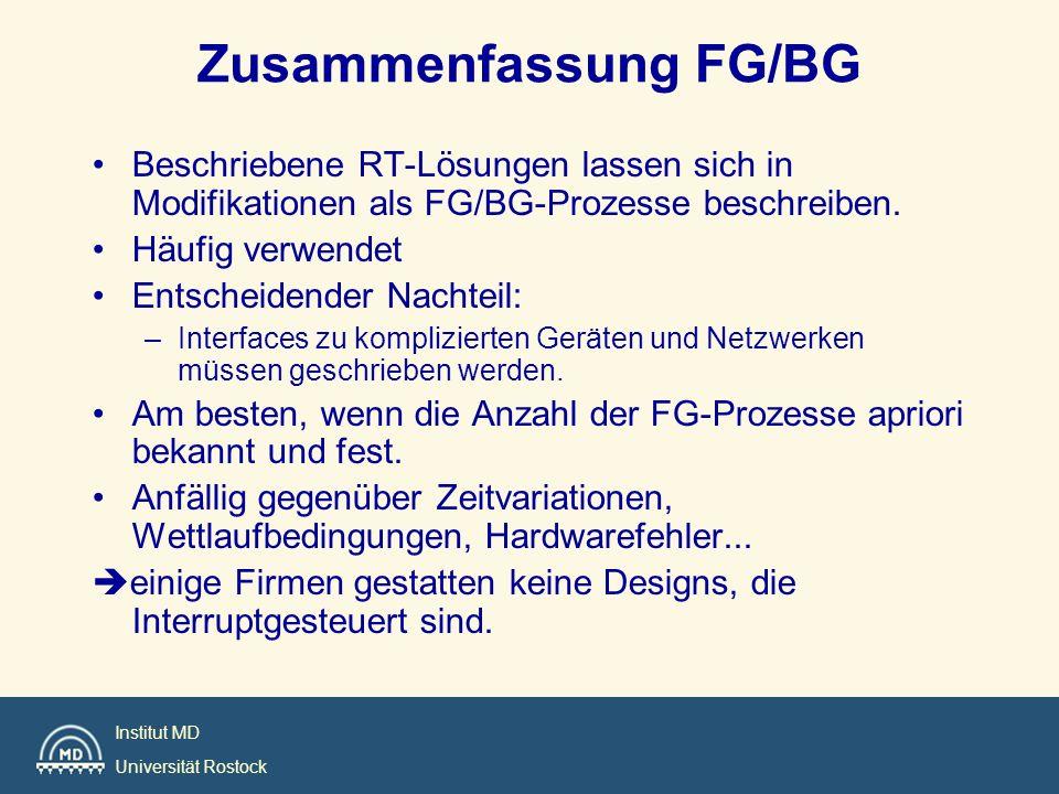 Institut MD Universität Rostock Zusammenfassung FG/BG Beschriebene RT-Lösungen lassen sich in Modifikationen als FG/BG-Prozesse beschreiben. Häufig ve