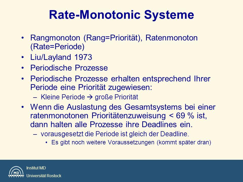 Institut MD Universität Rostock Rate-Monotonic Systeme Rangmonoton (Rang=Priorität), Ratenmonoton (Rate=Periode) Liu/Layland 1973 Periodische Prozesse