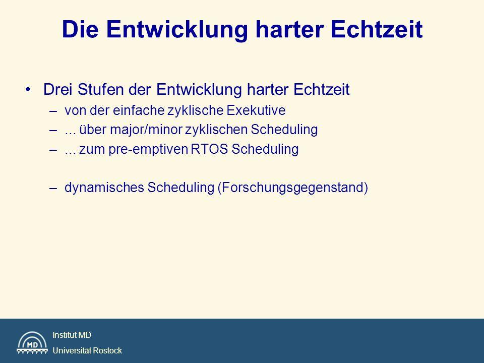 Institut MD Universität Rostock Die Entwicklung harter Echtzeit Drei Stufen der Entwicklung harter Echtzeit –von der einfache zyklische Exekutive –...
