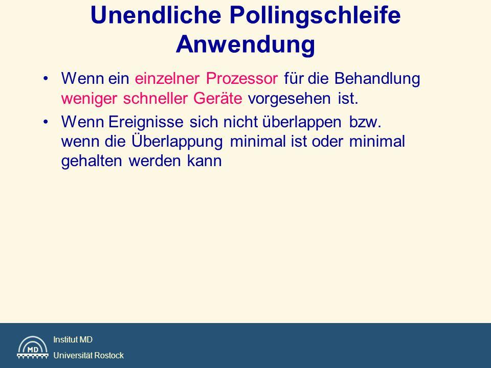 Institut MD Universität Rostock void main (void) { init(); while (TRUE) { task_1(); task_2(); task_3(); task_4(); busy_wait_cycle(); } Freie Zeit Interruptzeit Einfache zyklische Exekutive