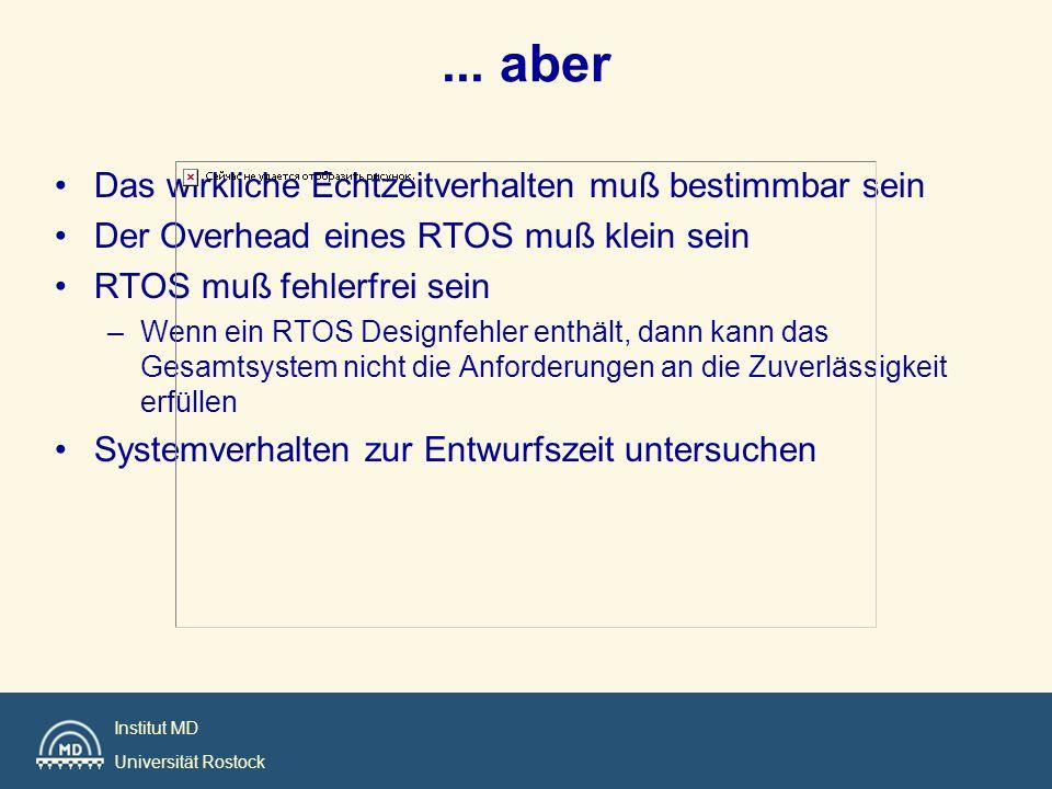 Institut MD Universität Rostock... aber Das wirkliche Echtzeitverhalten muß bestimmbar sein Der Overhead eines RTOS muß klein sein RTOS muß fehlerfrei
