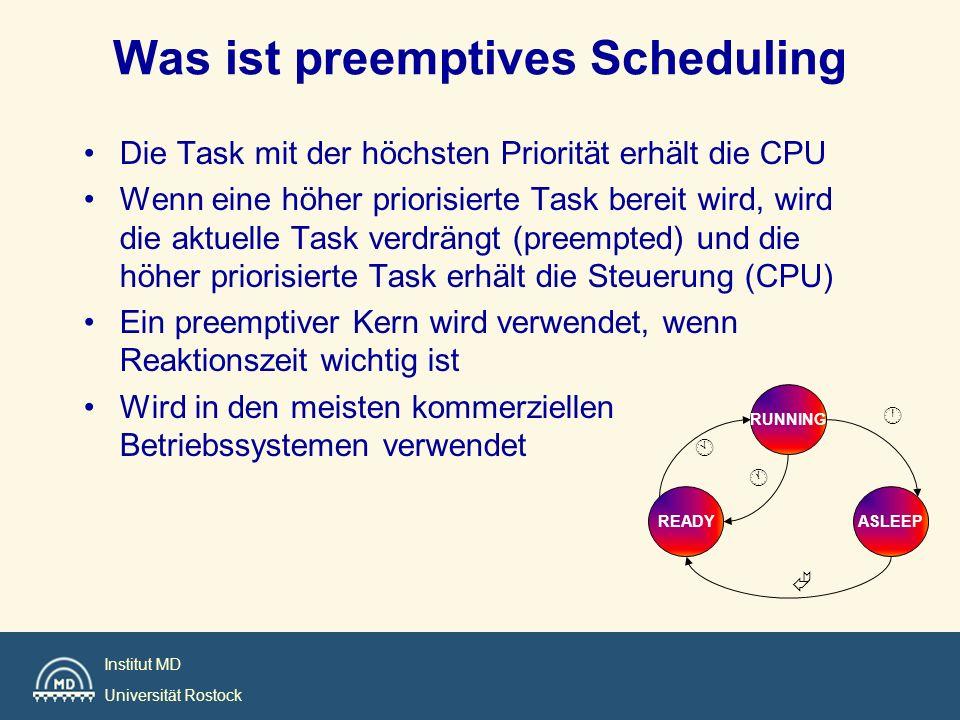 Institut MD Universität Rostock Was ist preemptives Scheduling Die Task mit der höchsten Priorität erhält die CPU Wenn eine höher priorisierte Task be
