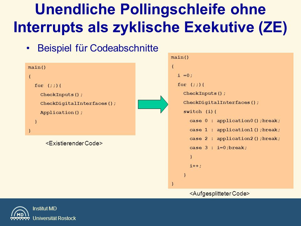 Institut MD Universität Rostock main() { int flag =1; for (;;){ switch (flag){ case 1 : { PerformPart1();flag=2; break;} case 2 : { PerformPart2();flag=3; break;} case 3 : { PerformPart3();flag=1; break;} } Phasen- und Zustandsgesteuerter Code Beispiel: Einfacher Prozeß, der drei Zustände einnimmt.
