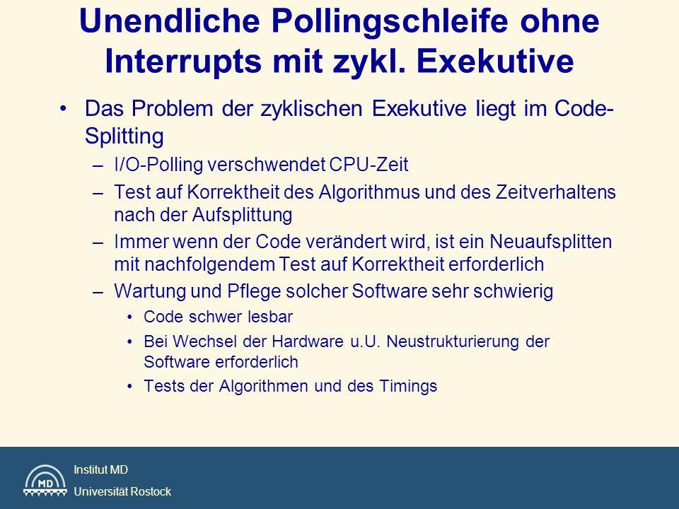Institut MD Universität Rostock void main (void) { init(); while (TRUE) { task_1();/**/ task_2(); /**/ busy_wait_minor(); task_1(); /**/ task_3(); /**/ task_4(); /**/ busy_wait_minor(); task_1(); /**/ task_2(); /**/ busy_wait_minor(); task_1(); /**/ busy_wait_minor(); } 0123 Interruptzeit Freie Zeit ZE mit Minor und Major-Zyklus