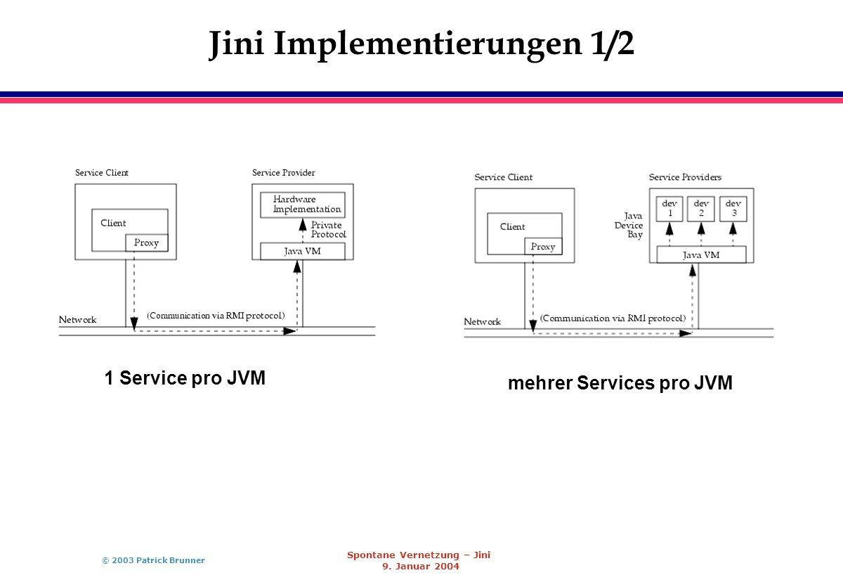 © 2003 Patrick Brunner Spontane Vernetzung – Jini 9. Januar 2004 Jini Implementierungen 1/2 1 Service pro JVM mehrer Services pro JVM