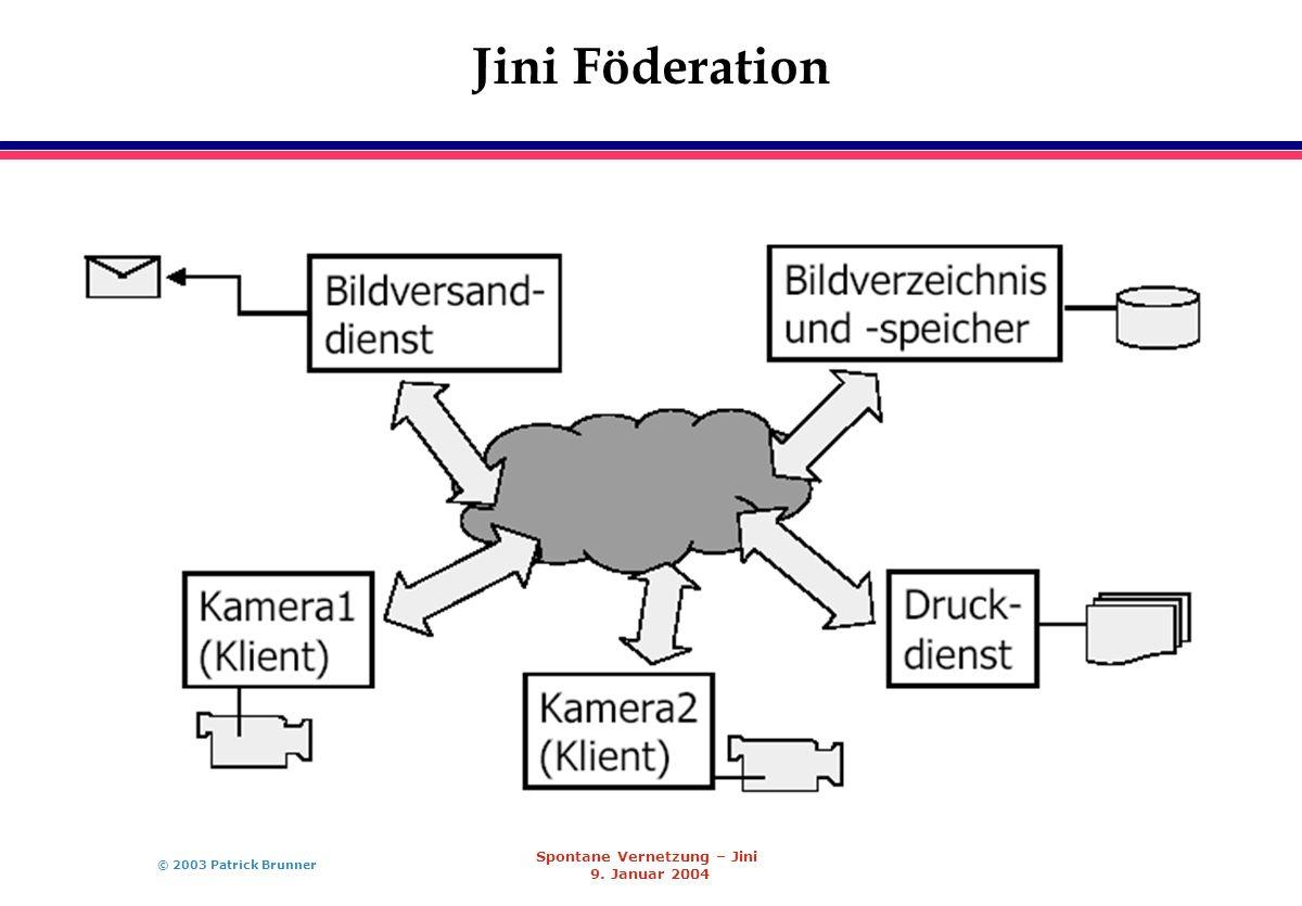 © 2003 Patrick Brunner Spontane Vernetzung – Jini 9. Januar 2004 Jini Föderation
