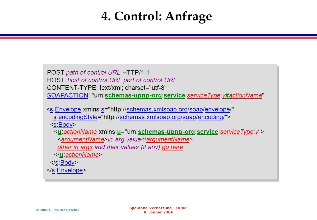 © 2003 Guido Badertscher Spontane Vernetzung - UPnP 9. Jänner 2004 4. Control: Anfrage POST path of control URL HTTP/1.1 HOST: host of control URL:por