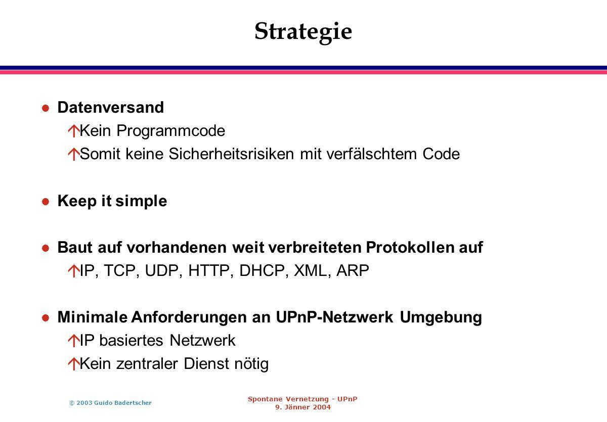 © 2003 Guido Badertscher Spontane Vernetzung - UPnP 9. Jänner 2004 Strategie l Datenversand áKein Programmcode áSomit keine Sicherheitsrisiken mit ver