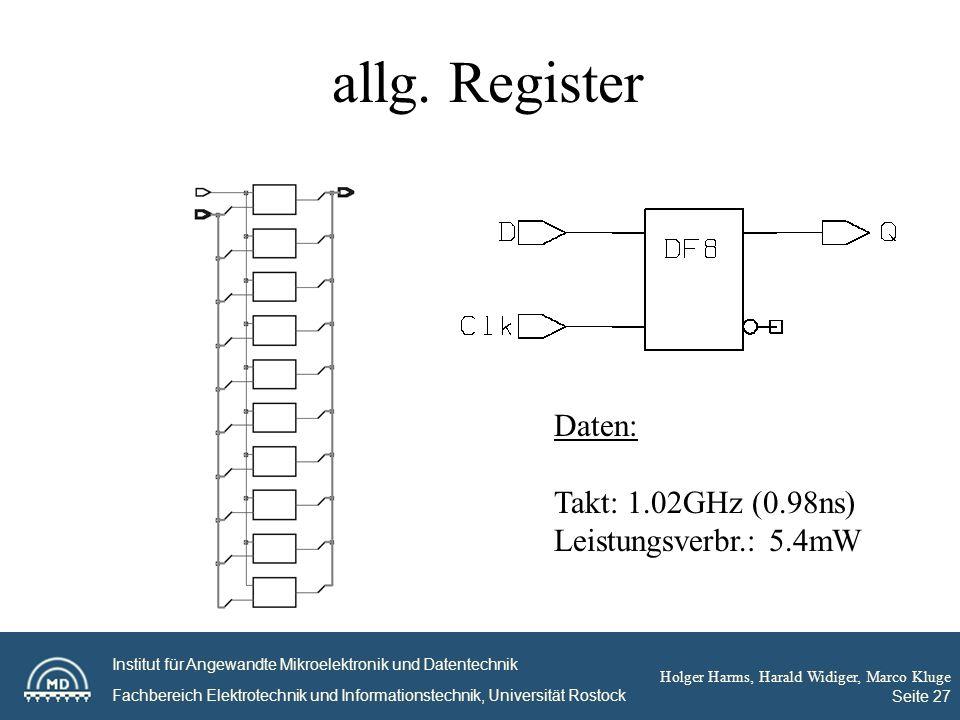 Institut für Angewandte Mikroelektronik und Datentechnik Fachbereich Elektrotechnik und Informationstechnik, Universität Rostock Holger Harms, Harald Widiger, Marco Kluge Seite 27 allg.