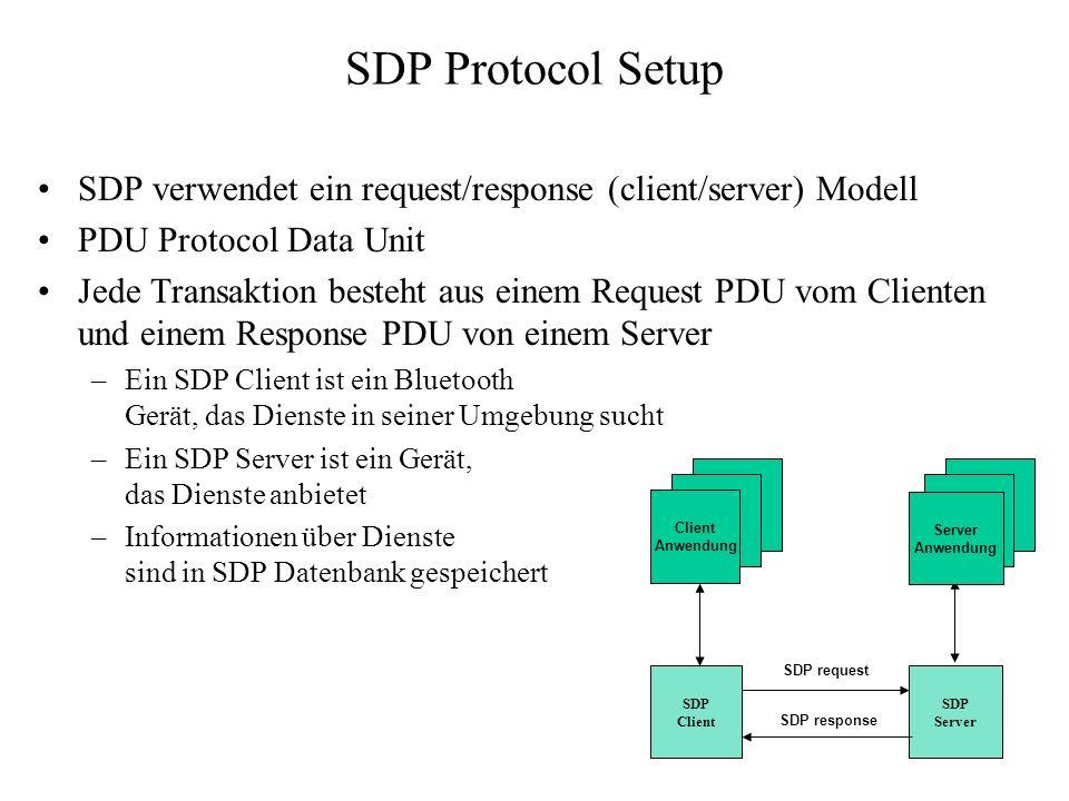 SDP Protocol Setup SDP verwendet ein request/response (client/server) Modell PDU Protocol Data Unit Jede Transaktion besteht aus einem Request PDU vom