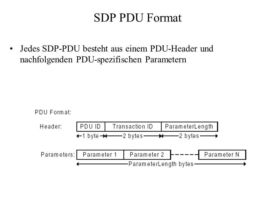 SDP PDU Format Jedes SDP-PDU besteht aus einem PDU-Header und nachfolgenden PDU-spezifischen Parametern