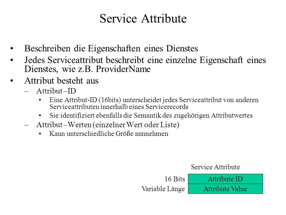 Service Attribute Beschreiben die Eigenschaften eines Dienstes Jedes Serviceattribut beschreibt eine einzelne Eigenschaft eines Dienstes, wie z.B. Pro
