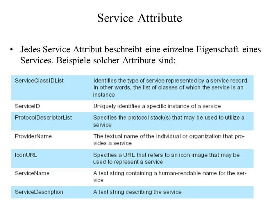 Service Attribute Jedes Service Attribut beschreibt eine einzelne Eigenschaft eines Services. Beispiele solcher Attribute sind: