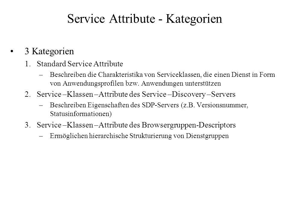 Service Attribute - Kategorien 3 Kategorien 1.Standard Service Attribute –Beschreiben die Charakteristika von Serviceklassen, die einen Dienst in Form