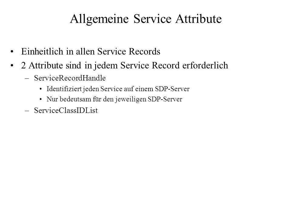 Allgemeine Service Attribute Einheitlich in allen Service Records 2 Attribute sind in jedem Service Record erforderlich –ServiceRecordHandle Identifiz