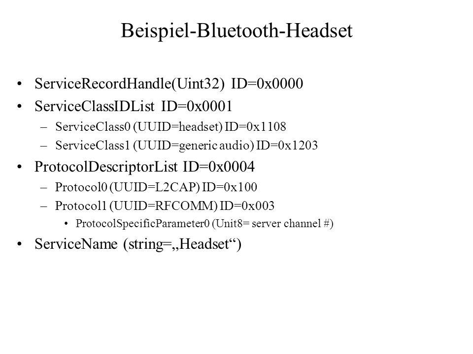 Beispiel-Bluetooth-Headset ServiceRecordHandle(Uint32) ID=0x0000 ServiceClassIDList ID=0x0001 –ServiceClass0 (UUID=headset) ID=0x1108 –ServiceClass1 (