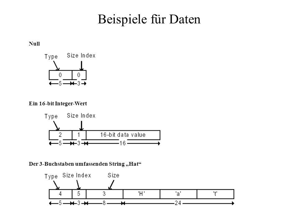 Beispiele für Daten Der 3-Buchstaben umfassenden String Hat Ein 16-bit Integer-Wert Null