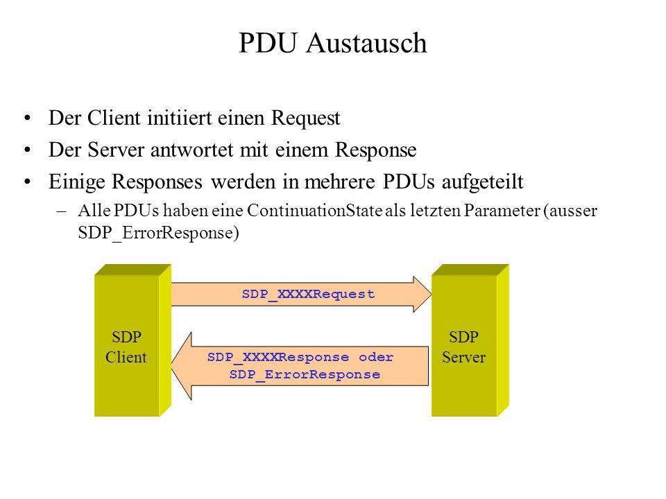 PDU Austausch Der Client initiiert einen Request Der Server antwortet mit einem Response Einige Responses werden in mehrere PDUs aufgeteilt –Alle PDUs