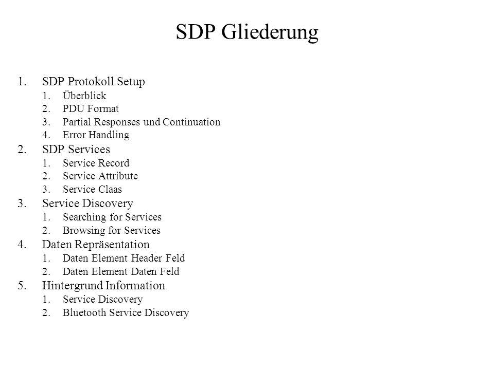 SDP Gliederung 1.SDP Protokoll Setup 1.Überblick 2.PDU Format 3.Partial Responses und Continuation 4.Error Handling 2.SDP Services 1.Service Record 2.