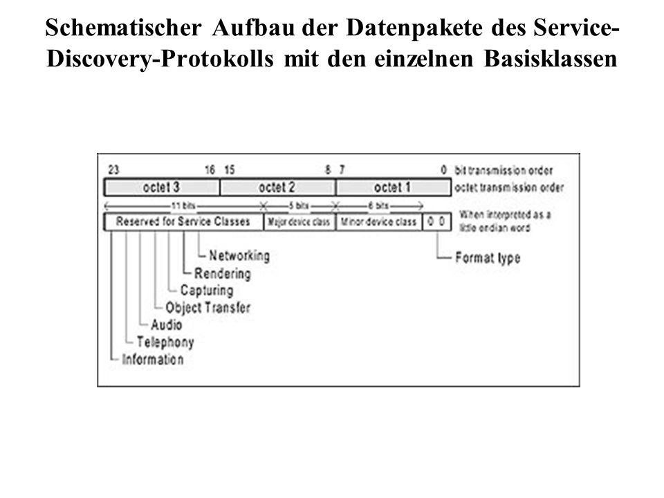 Schematischer Aufbau der Datenpakete des Service- Discovery-Protokolls mit den einzelnen Basisklassen
