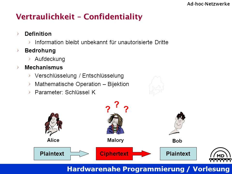 Hardwarenahe Programmierung / Vorlesung Ad-hoc-Netzwerke Vertraulichkeit – Confidentiality Definition Information bleibt unbekannt für unautorisierte