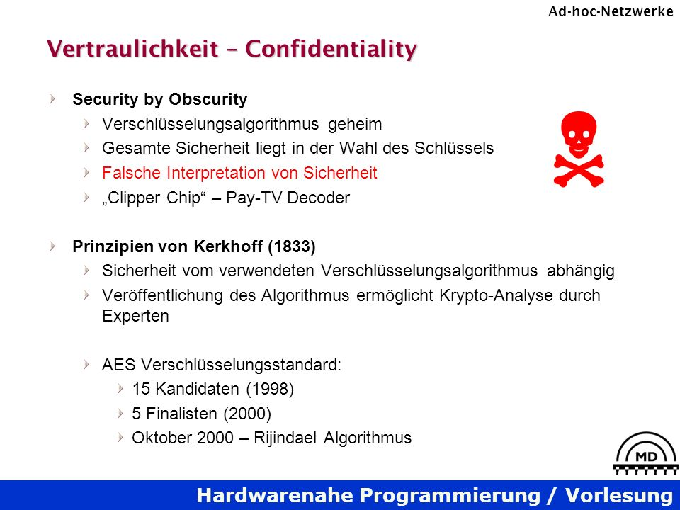 Hardwarenahe Programmierung / Vorlesung Ad-hoc-Netzwerke Vertraulichkeit – Confidentiality Security by Obscurity Verschlüsselungsalgorithmus geheim Ge