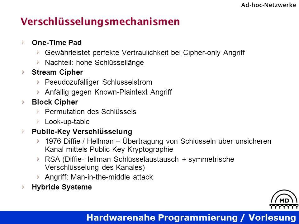 Hardwarenahe Programmierung / Vorlesung Ad-hoc-NetzwerkeVerschlüsselungsmechanismen One-Time Pad Gewährleistet perfekte Vertraulichkeit bei Cipher-onl