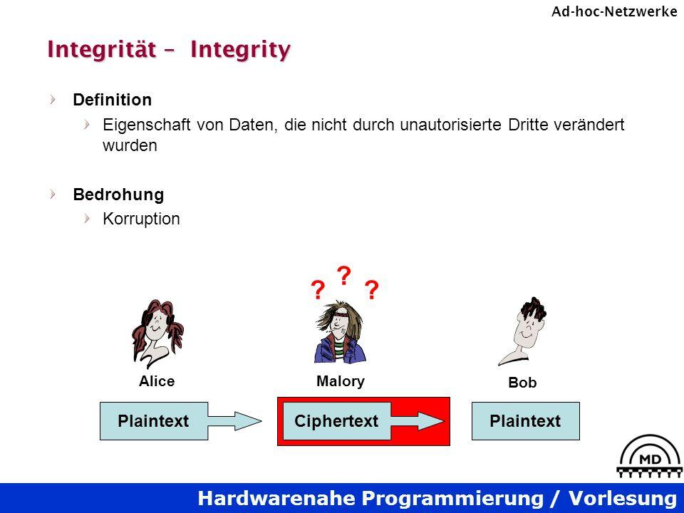 Hardwarenahe Programmierung / Vorlesung Ad-hoc-Netzwerke Integrität – Integrity Definition Eigenschaft von Daten, die nicht durch unautorisierte Dritt
