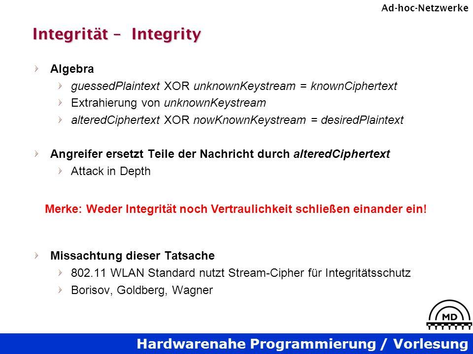 Hardwarenahe Programmierung / Vorlesung Ad-hoc-Netzwerke Integrität – Integrity Algebra guessedPlaintext XOR unknownKeystream = knownCiphertext Extrah