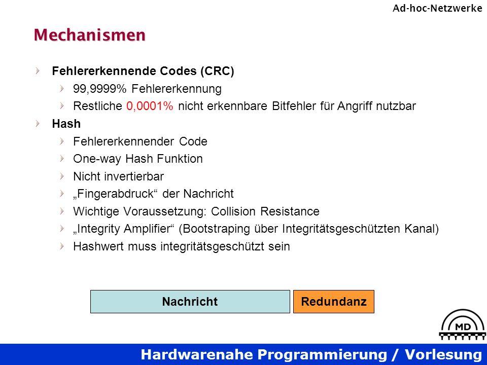 Hardwarenahe Programmierung / Vorlesung Ad-hoc-NetzwerkeMechanismen Fehlererkennende Codes (CRC) 99,9999% Fehlererkennung Restliche 0,0001% nicht erke