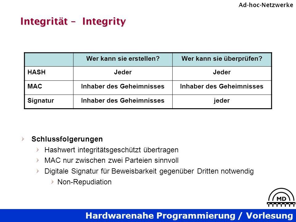 Hardwarenahe Programmierung / Vorlesung Ad-hoc-Netzwerke Integrität – Integrity Schlussfolgerungen Hashwert integritätsgeschützt übertragen MAC nur zw