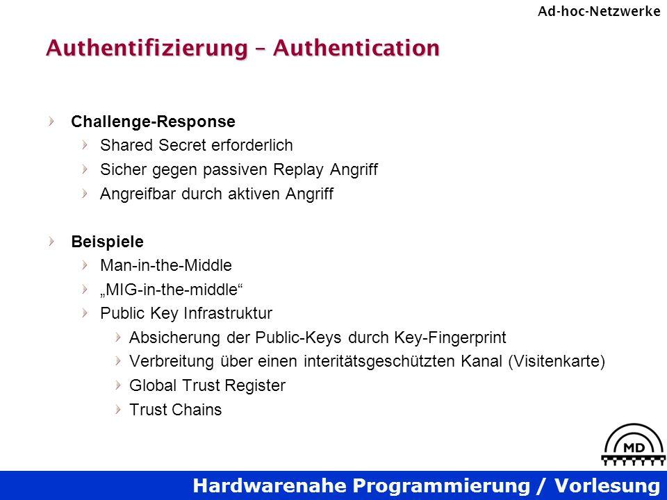 Hardwarenahe Programmierung / Vorlesung Ad-hoc-Netzwerke Authentifizierung – Authentication Challenge-Response Shared Secret erforderlich Sicher gegen