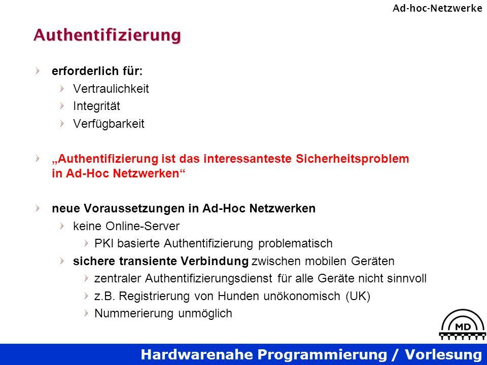 Hardwarenahe Programmierung / Vorlesung Ad-hoc-NetzwerkeAuthentifizierung erforderlich für: Vertraulichkeit Integrität Verfügbarkeit Authentifizierung