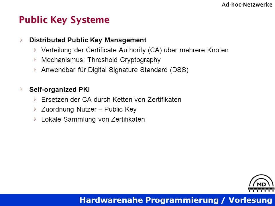 Hardwarenahe Programmierung / Vorlesung Ad-hoc-Netzwerke Public Key Systeme Distributed Public Key Management Verteilung der Certificate Authority (CA