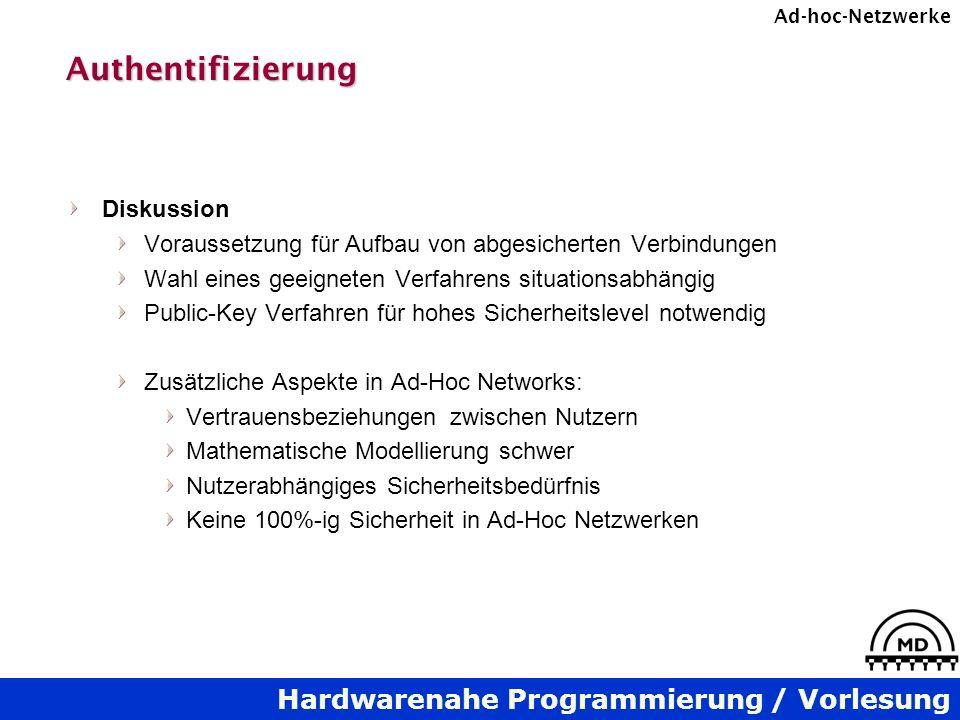 Hardwarenahe Programmierung / Vorlesung Ad-hoc-NetzwerkeAuthentifizierung Diskussion Voraussetzung für Aufbau von abgesicherten Verbindungen Wahl eine