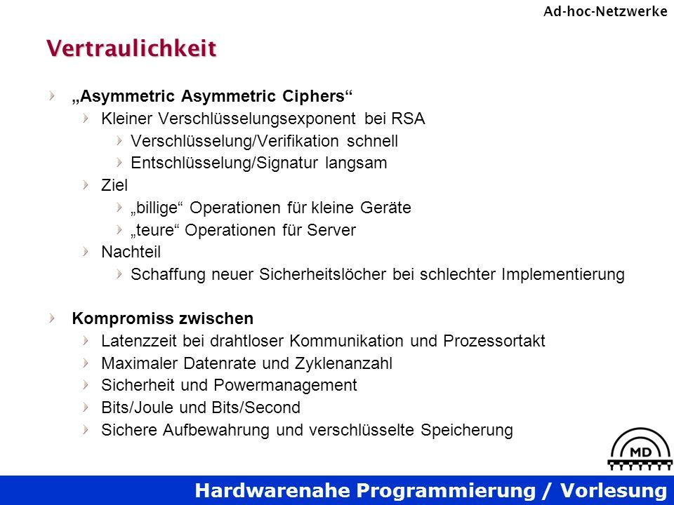 Hardwarenahe Programmierung / Vorlesung Ad-hoc-NetzwerkeVertraulichkeit Asymmetric Asymmetric Ciphers Kleiner Verschlüsselungsexponent bei RSA Verschl