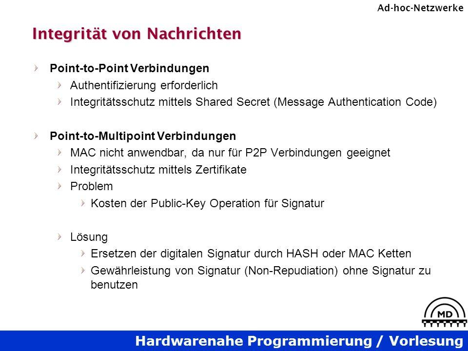 Hardwarenahe Programmierung / Vorlesung Ad-hoc-Netzwerke Integrität von Nachrichten Point-to-Point Verbindungen Authentifizierung erforderlich Integri