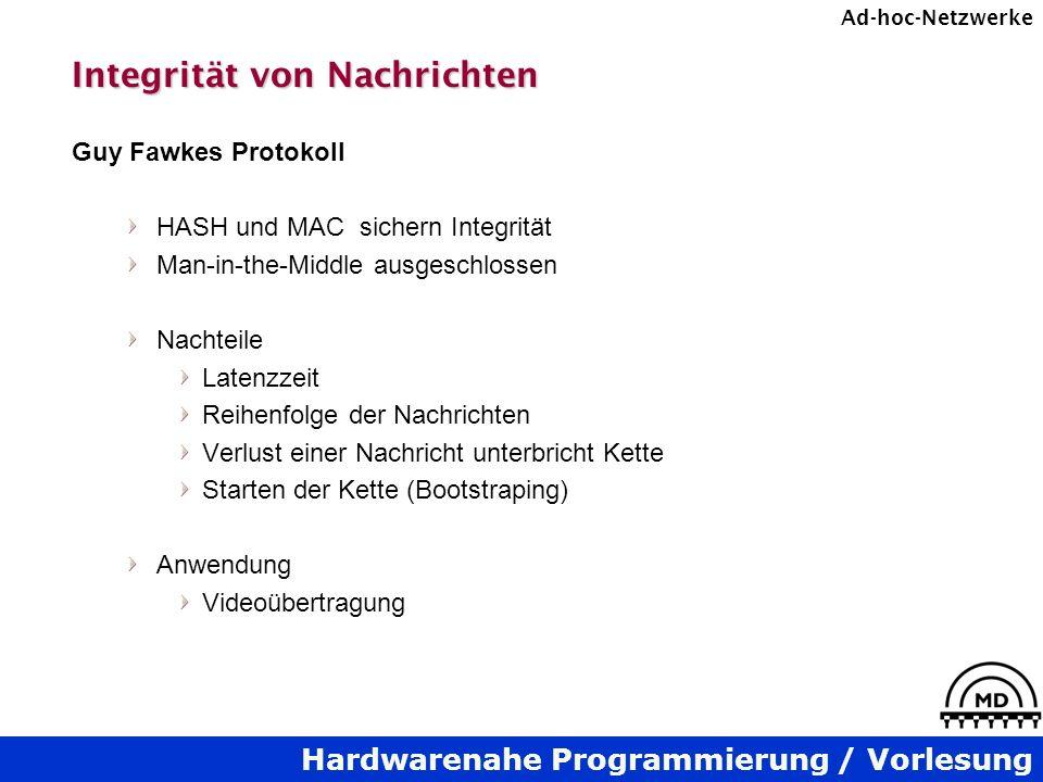 Hardwarenahe Programmierung / Vorlesung Ad-hoc-Netzwerke Integrität von Nachrichten Guy Fawkes Protokoll HASH und MAC sichern Integrität Man-in-the-Mi