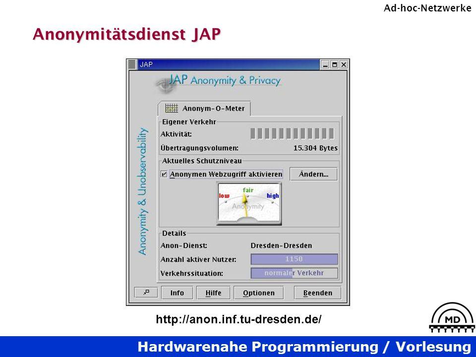 Hardwarenahe Programmierung / Vorlesung Ad-hoc-Netzwerke Anonymitätsdienst JAP http://anon.inf.tu-dresden.de/